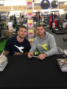 Dane Swan and Heath Shaw in store at Sportsmart Northcote