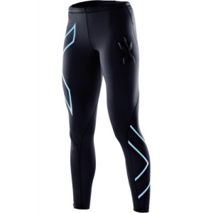 2XU compression long tights (womens) in black/baby blue